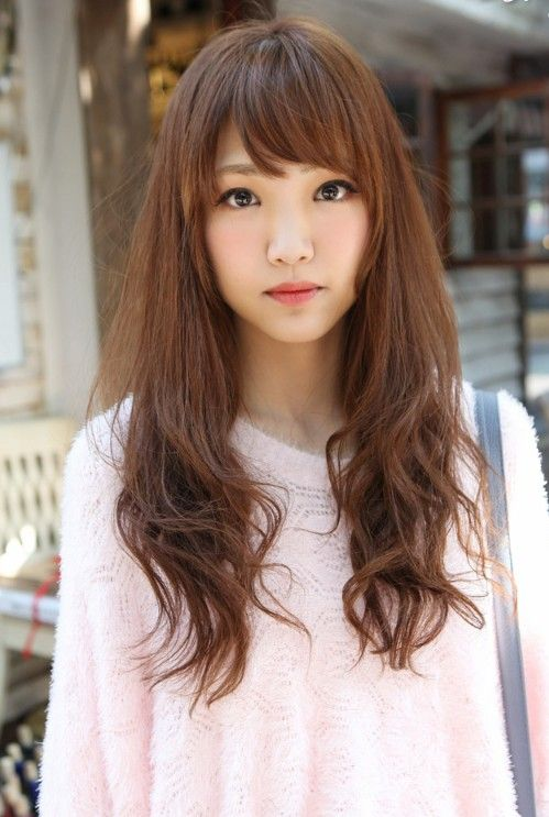 Cute Asian Long Hairstyle with Bangs - Hairstyles Weekly | Long .