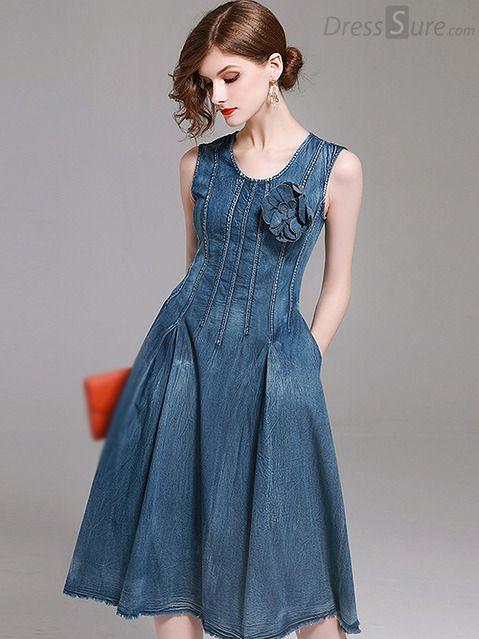 Chic O-Neck Sleeveless Denim A-Line Dress | Vestidos giros .