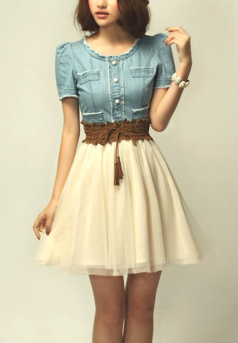 Light Blue Denim Short Sleeve Contrast Net Belt Dress - Sheinside .