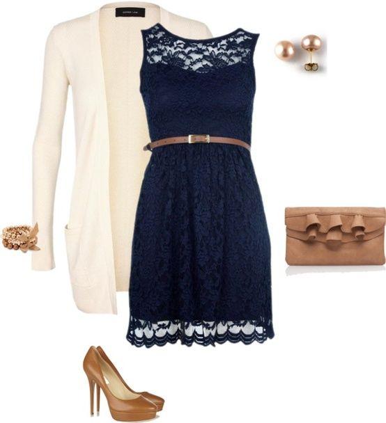 navy lace overlay dress and purse! | Lace blue dress, Lace dress .
