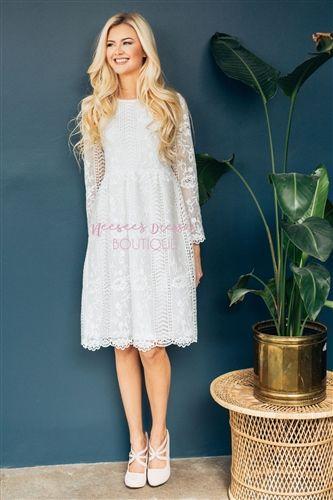 Beautiful White Lace Modest Dress Bridesmaids Dress, Church .
