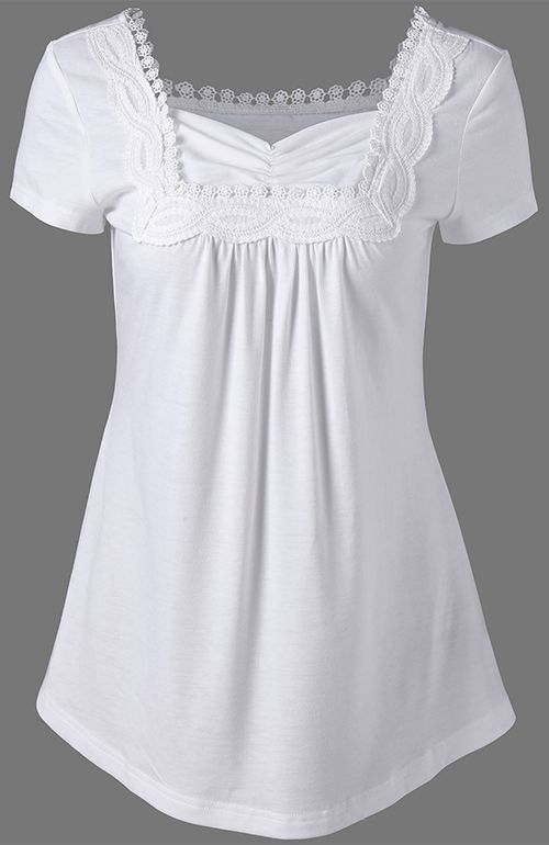 Sweetheart Neck Crochet Trim T-Shirt | Fashion clothes women .