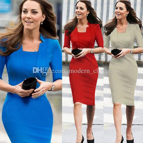 2020 New Elegant Celebrity Work Dress Stand Collar Five Point .