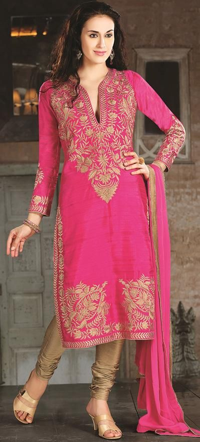 Pink Silk Zardosi Work Churidar Salwar Kameez 26883 | Pakistani .