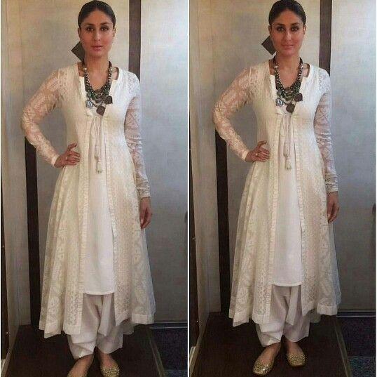 Kareena Kapoor wearing white shalwar kameez with chunky necklace .