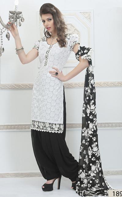 White Embroidery Net Punjabi Salwar Kameez 23898 | Indian women .