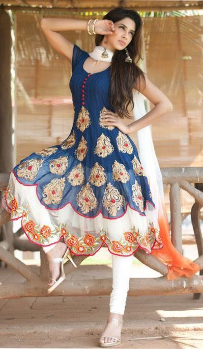 Blue Short Sleeve Faux Georgette Long Anarkali Salwar Kameez 21720 .