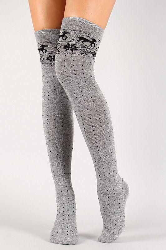 Reindeer Print Thigh High Socks in 2020 | Thigh high socks .