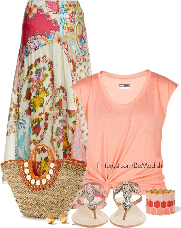 35 Pretty Maxi Skirt Outfits Polyvore Combinations This Summer .
