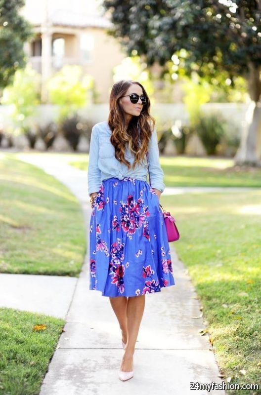 Printed Midi Skirts Outfit Combinations 2019-2020 | B2B Fashion .