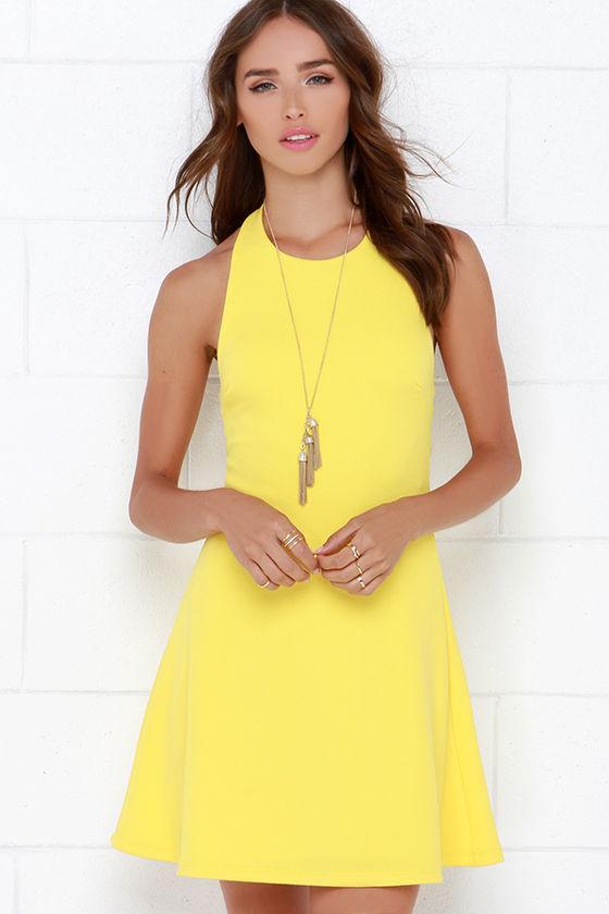 Cute Yellow Dress - Halter Dress - A-Line Dress - $38.00 - Lul