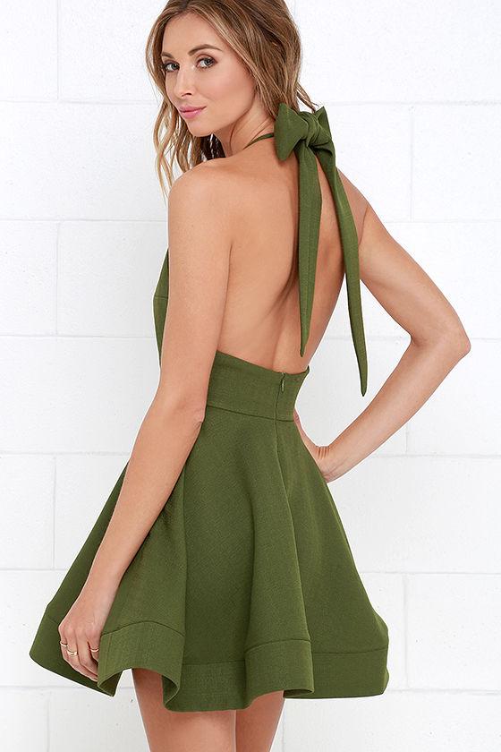 Cute Green Dress - Halter Dress - Skater Dress - $64.00 - Lul