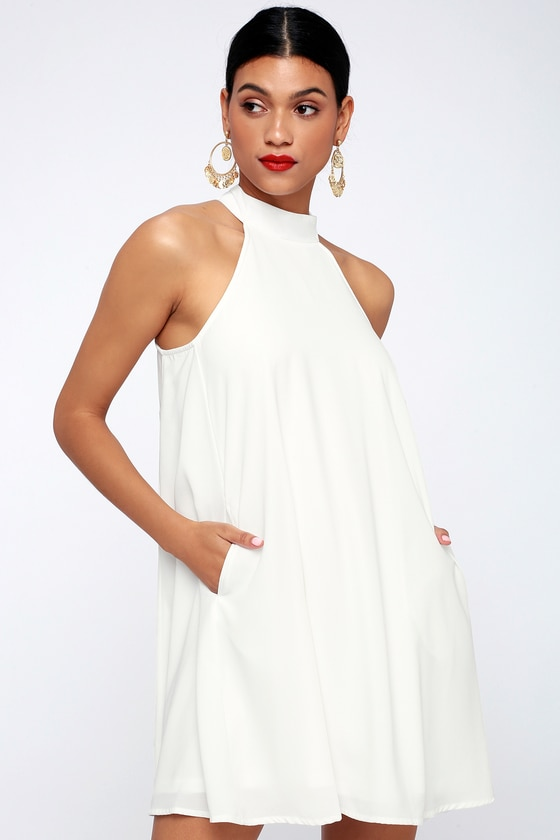 Love of Mine White Halter Swing Dress   Halter swing dress, White .