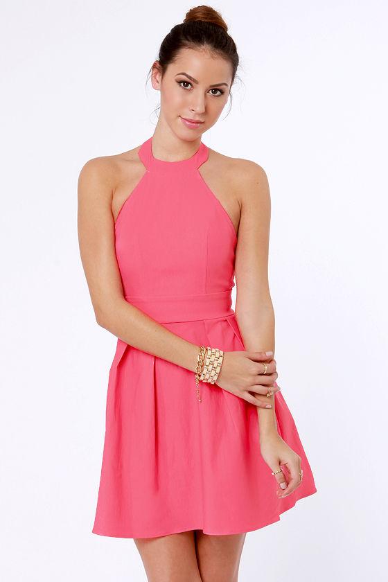 Cute Pink Dress - Halter Dress - Skater Dress - $37.50 - Lul
