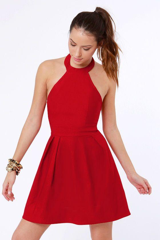 Floating on Flare Red Halter Dress | Red halter dress, Red dresses .