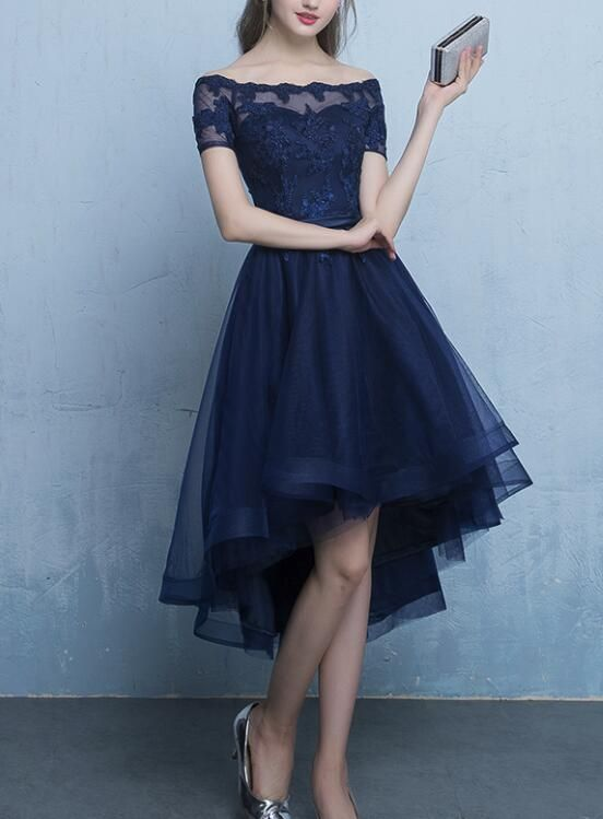 Navy Blue Cute Lace-up Prom Dress 2019, Lovely Party Dress, Blue .