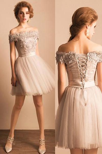 Grey Off Shoulder Elegant Style Homecoming Dresses, Short Prom .