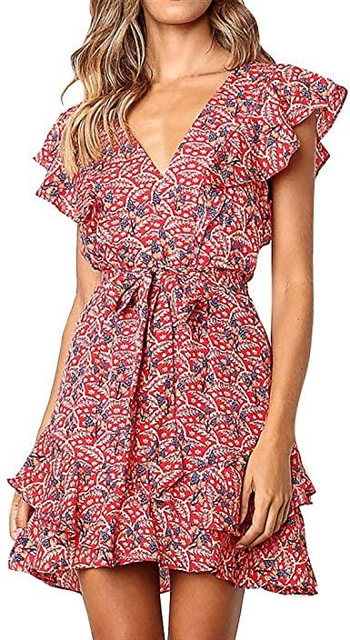 Womens Wrap Ruffle Lace-up Dresses Summer Cute V Neck Short Sleeve .
