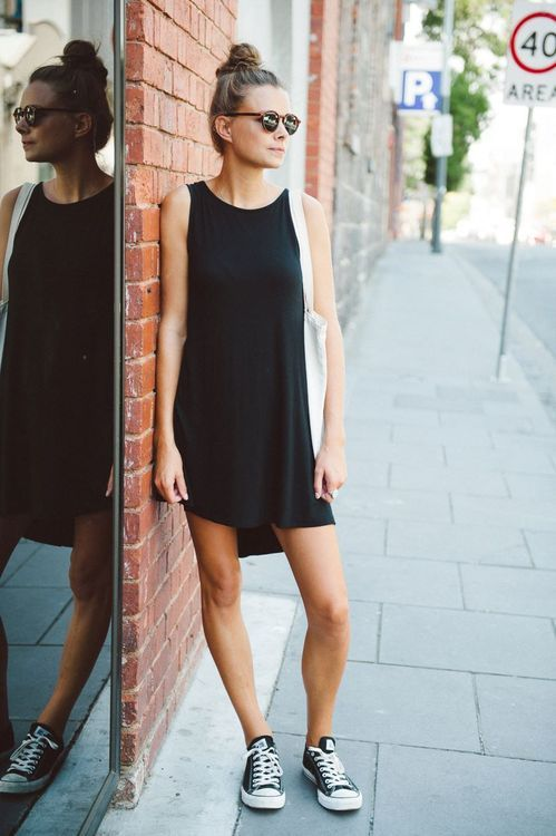 black shift & cons... so simple... so works.   Dress with converse .