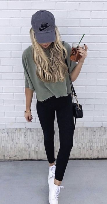 A super cute casual day outfit   Nike Hat   Nike top   Nike Shoes .