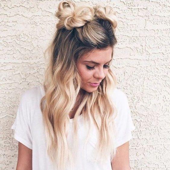 she's so cute! | double braid bun, space bun, alien buns, top knot .