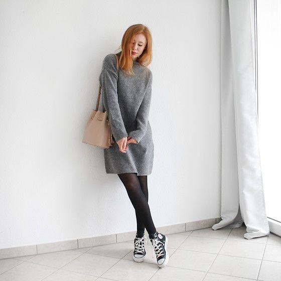 sweater dress, tights, chucks   Dress with sneakers, Sweater dress .