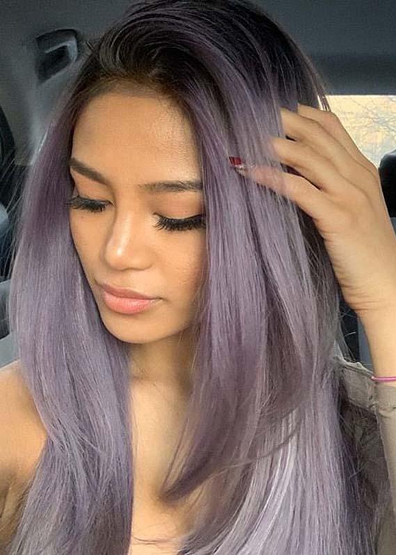 Unique Rooty Metallic Lavender Hair Color Trends for Women 2020 .