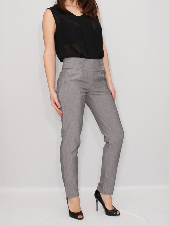 High Waist Pants Gray Skinny Pants Office Fashion | Work wear .