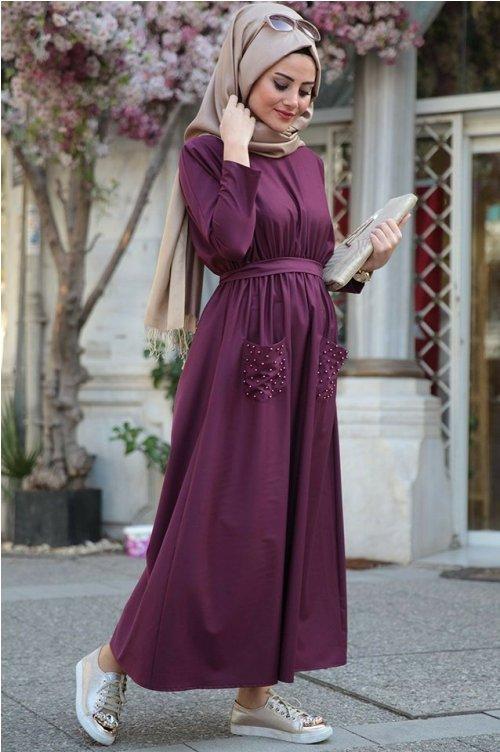 maroon maxi dress hijab style – Just Trendy Gir