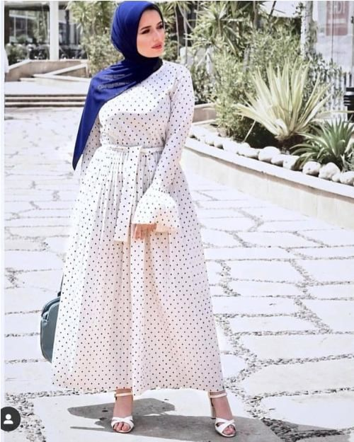 How to wear the maxi style with hijab   Muslim fashion dress .