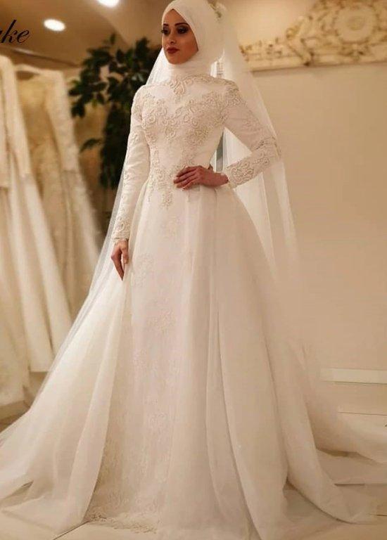 Elegant Long Sleeve O Neck Muslim Wedding Dress Islamic Wedding .