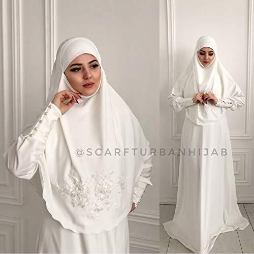 Amazon.com: Muslim wedding dress with khimar, bridal hijab, hikkah .