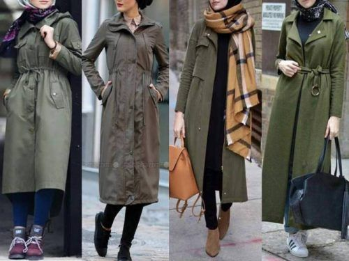Winter colorful coats with hijab – olive jackets with hijab- Just .