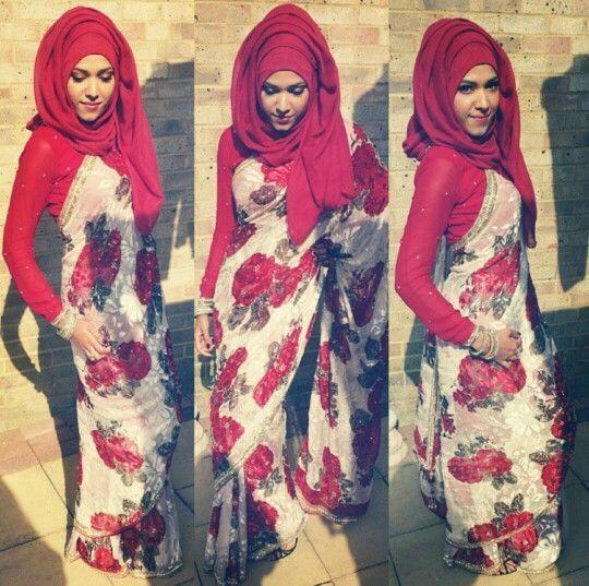 Hijab with Saree – 8 Ideas on How to Wear Saree with Scarf   Saree .