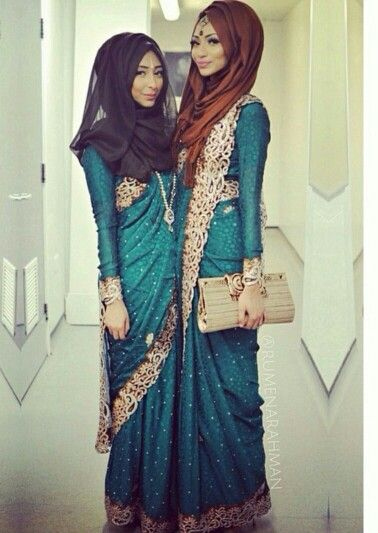 Modest Saree Styles-15 Latest Saree Designs For Muslim Women .