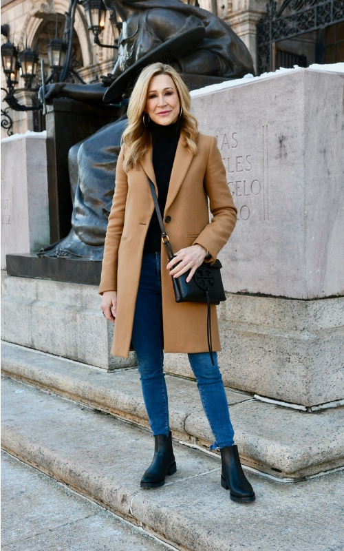 A Stylish Way to Wear a Camel Coat with Jeans — Crazy Blonde Li