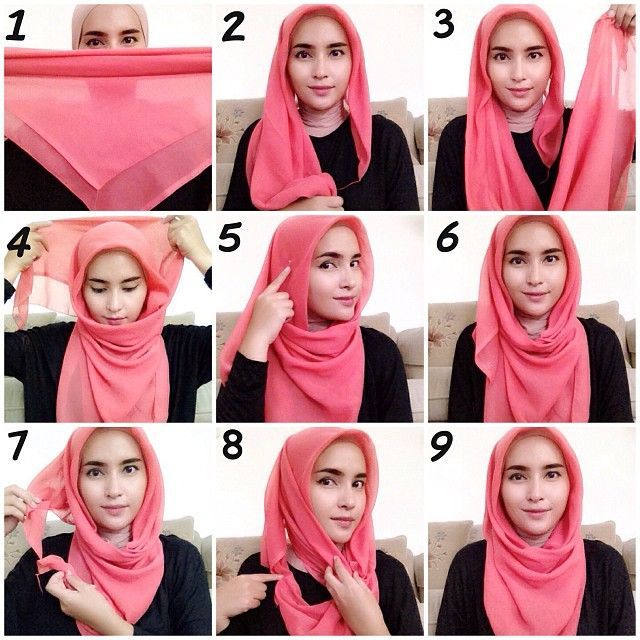 15 Easy and Simple Hijab Tutorials -How to Wear Hijab Steps .