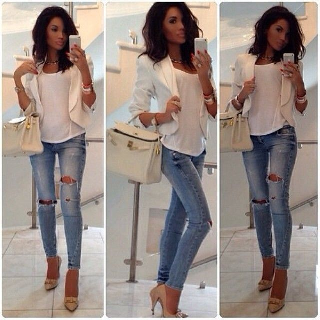 Ripped jeans, heels and waterfall jacket | Fashion, Dressy casual .
