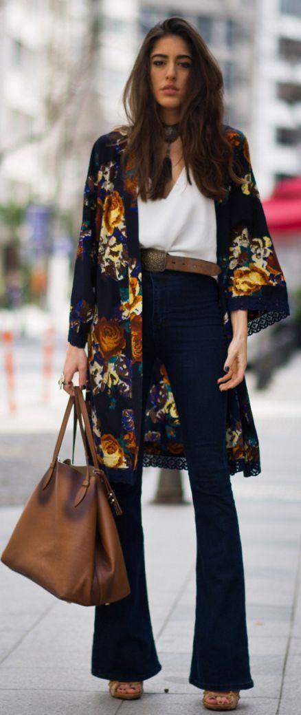Floral Kimono Outfit Idea   Kimono fashion, Floral kimono outfit .