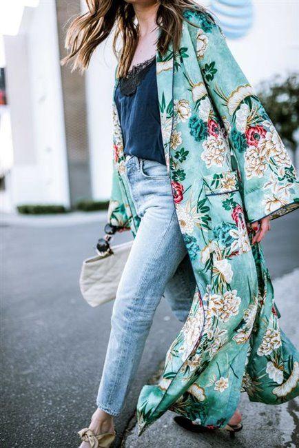 How to wear jeans with kimonos in spring 20 outfit ideas   Kimono .