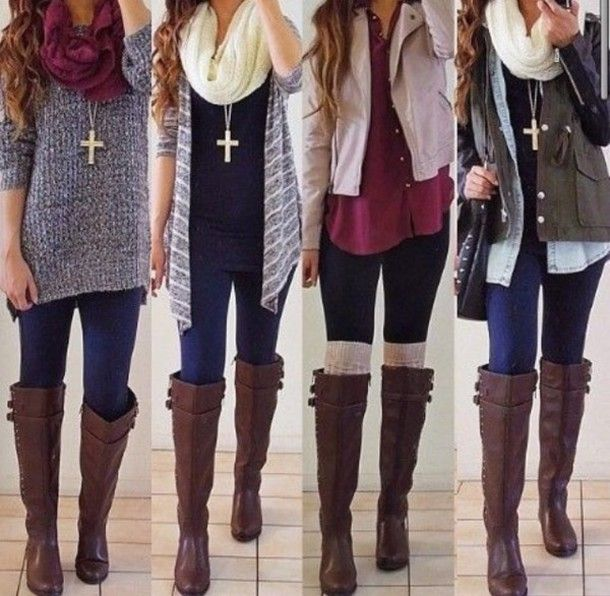 blouse fall outfits maroon/burgundy leg warmers boots jacket .