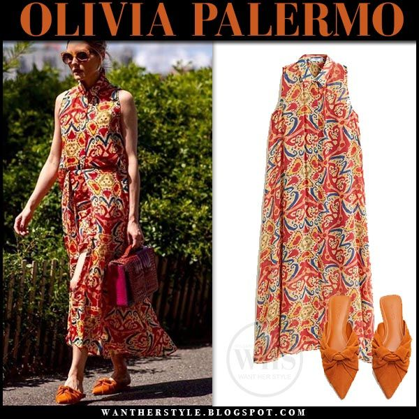Olivia Palermo in red printed sleeveless dress and orange suede .