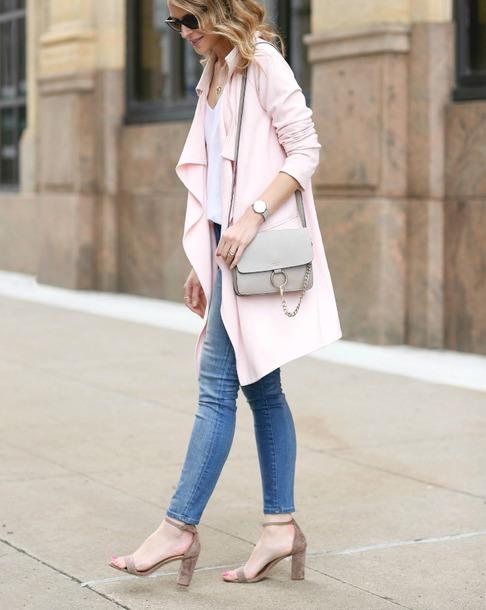 coat, top, grey bag, tumblr, pink coat, white top, denim, jeans .