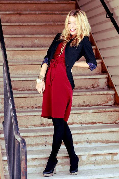 sydney from the Daybook. love the dress   Red dress black tights .