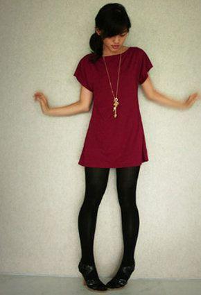 red maroon dress black tights   Fall dress outfit, Maroon dress .