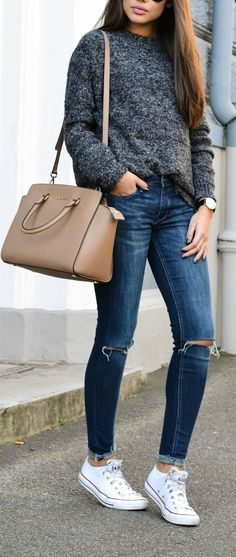 25+ beautiful winter outfits with Converse - myschooloutfits.c