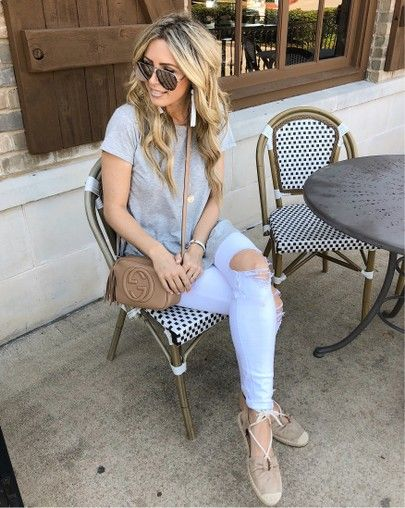 lunch outfit, distressed jeans, white jeans outfit, espadrilles .