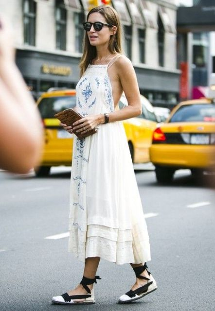 Picture Of Summer dress and lace up espadrill