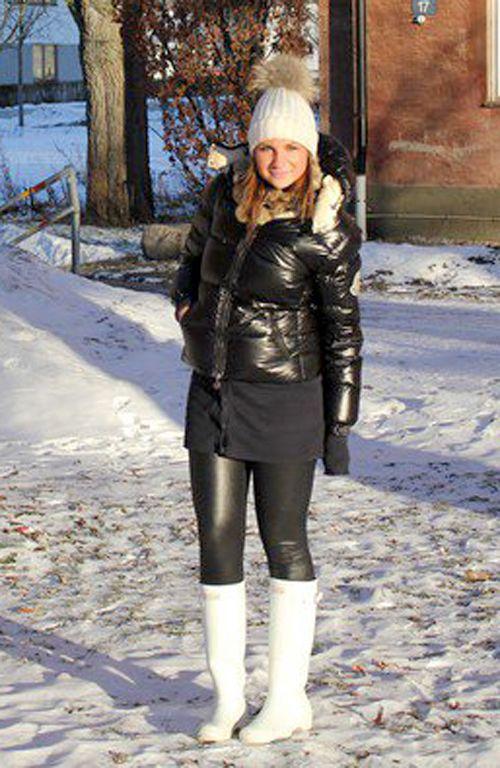 Black Moncler 'Badia' down jacket and white Hunter boots | Hunter .