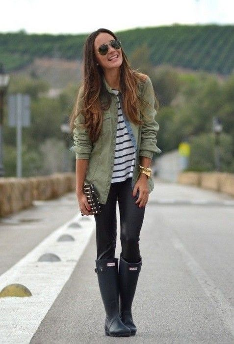 20 Looks with Rainboots Glamsugar.com Hunter rain boots .